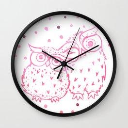 Owls - Pink Wall Clock
