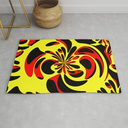 Yellow red and black Rug