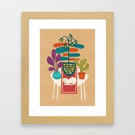Indoor garden with cat Framed Art Print