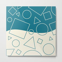Turquoise Cream Geometric Shape Wave Modern Pattern Metal Print