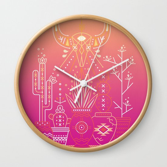 Santa Fe Garden – Pink Sunset Wall Clock