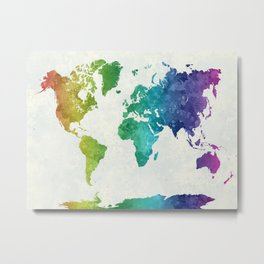 World map in watercolor rainbow Metal Print