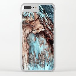 Mint Blue Wood Texture Clear iPhone Case