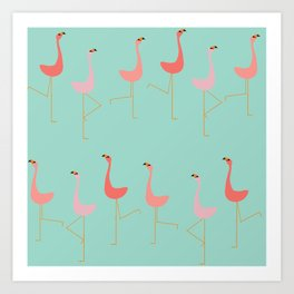 MARCH OF THE FLAMINGOS Art Print