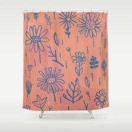 Peach Floral Shower Curtain