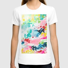 Colorful Fantasy Neon Rainbow Abstract Art Acrylic Painting Fluffy Pastel Clouds by Ejaaz Haniff T-shirt
