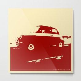 Fiat 500 classic, Dark Red on Cream Metal Print