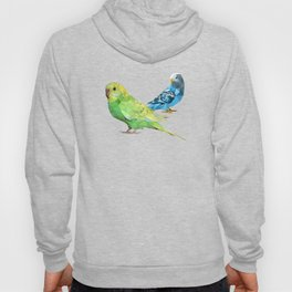 Geometric green and blue parakeets Hoody