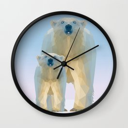 Cute Low poly polar bear with cub Wall Clock