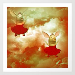 Flying pigs Art Print