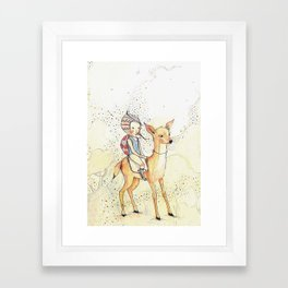 Forest girl, nursery decor girl Framed Art Print