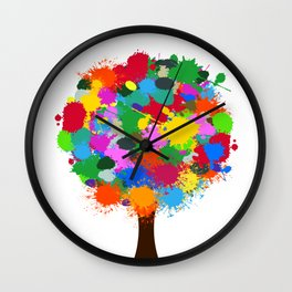 Tree with Color Spectrum Leaves Artistic Design Wall Clock