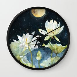 After Sunset, Blood Moon and Lotus Art Print Wall Clock