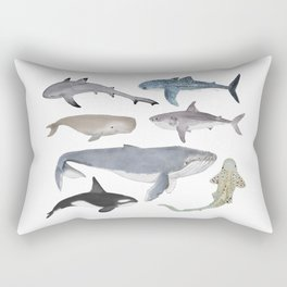 Whales and Sharks Rectangular Pillow