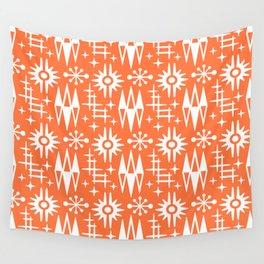 Mid Century Modern Atomic Space Age Pattern Orange Wall Tapestry