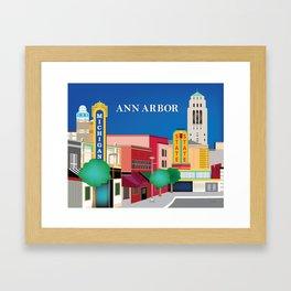 Ann Arbor, Michigan - Skyline Illustration by Loose Petals Framed Art Print