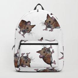 Cute Brown Field Mice, Mouse, Oil Pastel Art, Pattern Backpack