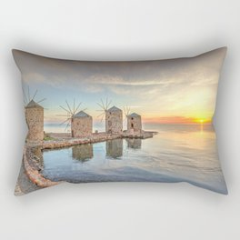 The sunrise at the famous windmills in Chios island, Greece Rectangular Pillow