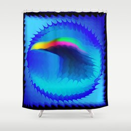 The emblem of an eagle bird head in motion blur. Medal with the image of an eagle on a blue backgrou Shower Curtain