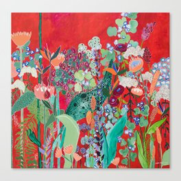 Floral Jungle on Red with Proteas, Eucalyptus and Birds of Paradise Canvas Print