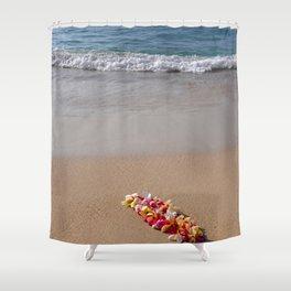 Hawaiian beach with lei Shower Curtain