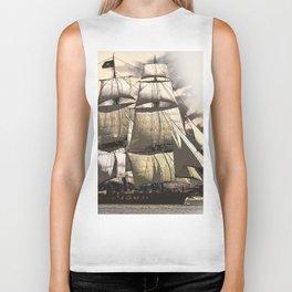 sailing ship vintage Biker Tank