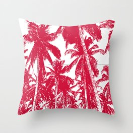 Palm Trees Design in Red and White Throw Pillow