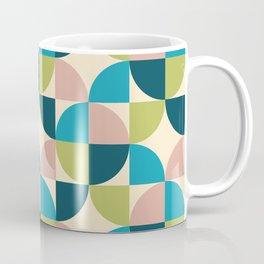 Mid Century Modern Geometric Pattern 323 Turquoise Olive Teal Dusty Rose and Beige Coffee Mug