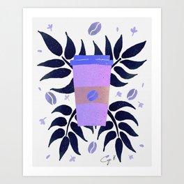 Tropical coffee - lavender blue palette Art Print