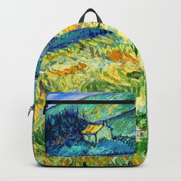 Van Gogh Mountain Meadow Landscape Painting Print Backpack