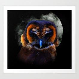 Chouette Sous La Lune / Owl Under The Moon Art Print