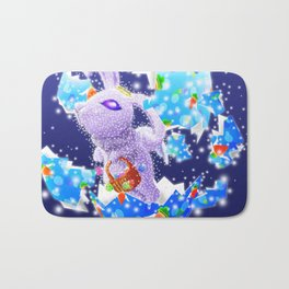 'You Cracked the Egg' Series - Easter Angelic Bunny with Premium Background Bath Mat