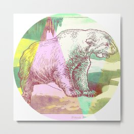 Polar Bear Pop Art Metal Print
