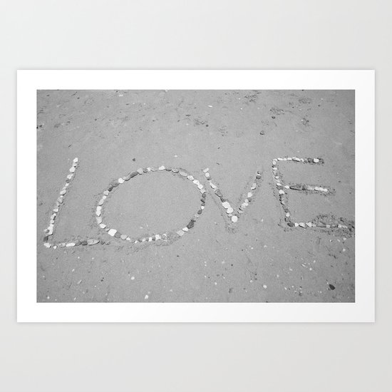 Love in the Sand - Black and White Art Print
