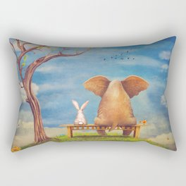 Elephant and rabbit sit on a bench on the glade Rectangular Pillow