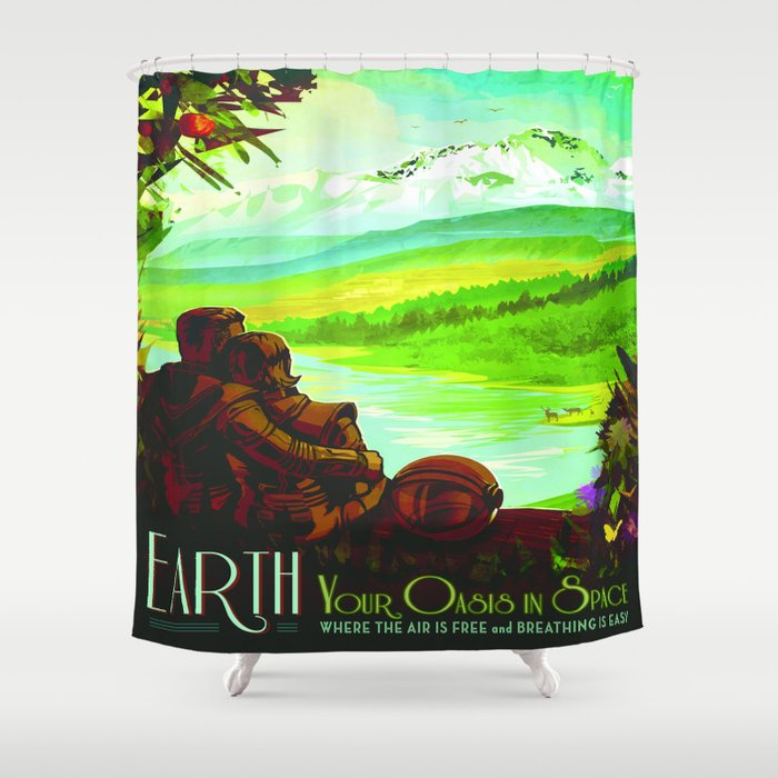 Vintage poster - Earth Shower Curtain