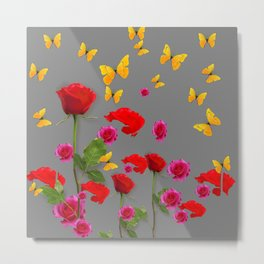 RED &  FUCHSIA PINK ROSES YELLOW BUTTERFLIES ABSTRACT Metal Print