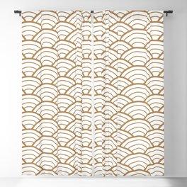 Gold white Art Deco shell pattern Blackout Curtain