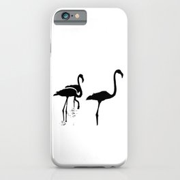 Three Flamingos Black Silhouette Isolated iPhone Case