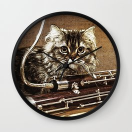 Music was my first love - cat and bassoon Wall Clock