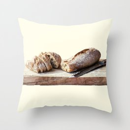 Baguette stuffed with cheese, salad, baked ham Throw Pillow