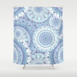 Delicate Ice Blue Mandala Pattern Shower Curtain