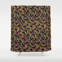 Tiny Pencils Black Shower Curtain