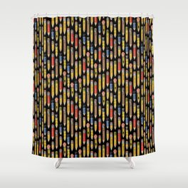 Tiny Pencils Black Shower Curtain