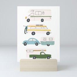 Vintage RV Motorhome Trailers Campers Mini Art Print