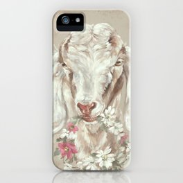Goat with Floral Wreath by Debi Coules iPhone Case