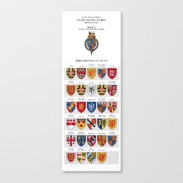 KING RICHARD II - Roll of arms of the Knights of the Garter installed during his reign Canvas Print