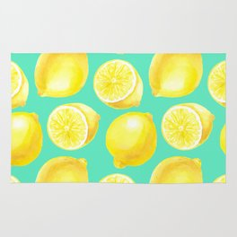 Watercolor lemons pattern Rug