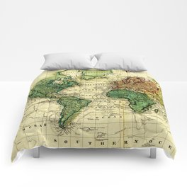 Vintage Map of The World (1823) - Stylized Comforters