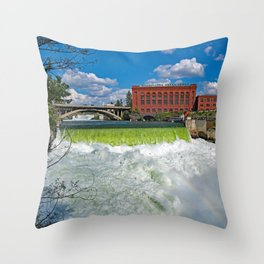 Wallpaper Washington USA Spokane Fall Waterfalls Rivers Cities Building river Houses Throw Pillow